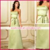 Separated green a-line beaded belt embellished Satin strapless evening dresses ed0222