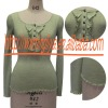 KNITTRF LACING NECK LONG SLEEVE BLOUSE & T-SHIRT & GARMENT & CLOTHES & CLOTHES