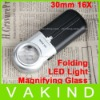 30mm 16X Lens Magnifier Pocket Folding LED Light Magnifying Glass Jeweler Loupe