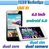 New arrival! Smart Phone 4.5'' UMI X1 MTK6577 1.0GHZ Android 4.0 dual core 1280*720 IPS dual sim card wifi bluetooth 3G GPS