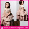 LV60026 Short sleeve round neck Ball gown Floor length Appliqued flowers Taffeta flower girl dress