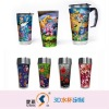 3D Double Wall Glass Thermos Cup
