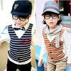 Twinset style fashion design striped country boy's shirts