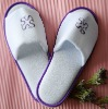 velvet open toe disposable hotel slipper with 5mm anti slip sole