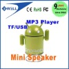 Android Robot Portable Mini Speaker Mp3 Player with TF USB port Computer Speakers Sound box , Multi Color