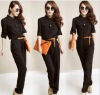 zc07045 Western Style Long Sleeve Black Cotton Jumpsuit For Women
