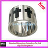stainless steel wide ring with cross