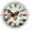 Top Sellers! D30cm! Round cheap hanging antique butterfly fancy glass quartz wall clock cheap