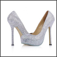 top quality women crystal high heel wedding shoes