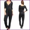 Women's Solid Surplice Neckline Jumpsuit, Fat Women Clothes