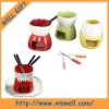 colorful chocolate ceramic fondue set with forks