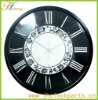 black and white glass mirror clock