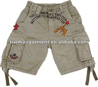 cheap children Garment Dyed cargo short pant with embroidery with elastic waistband