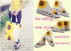 hand painted tote bag+hand painted canvas shoes with hand painted sunflower picture