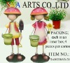 Metal mushroom boy+girl w/pot for garden decoration