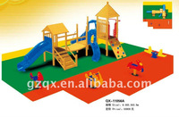 wooden playground equipment complex wood slide and rider multifunctional playground equipment