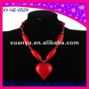 fashion chunky accessory red plastic heart necklace