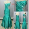 Top Fashion Fishtail Satin Beaded Pleating Prom Gown Dress #9492