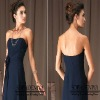 Elegant Formal A-line Strapless Floor Length Dark Blue Chiffon Bridesmaid Dresses