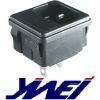black color three silver plated brass terminals power socket
