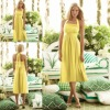 AS6554 New Designer Halter Sleeveless Tea Length Yellow Chiffon Formal Bridesmaid Dresses