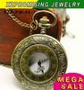 Hot sale wholesale bronze pendant sweater necklace pocket watch