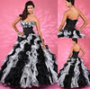 QU-172 New arrival fancy vertical two tone ruffles black and white plus size wedding gown ball gowns