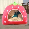 Red Cute Soft Cashmere Foldable Strawberry Design Style Pet Nest Dog Bed Cat Bed