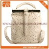 Fashionable beige full grain leather bag for ladies