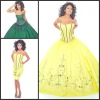 Q252 New Arrival Strapless Ball Gown Embroidered Floor Length Taffeta Quinceanera Dress Green and Yellow