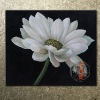 handmade realistic lotus white flower oil painting for Turkey Market