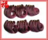 Wholesale Top Quality 16 Inch Burgundy Color 100% Remy Peruvian Human Hair French Curly Weave