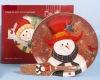 30cm Christmas ceramic Cake Plate with Server 2 asst snowman and santa