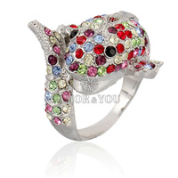 Wholesale Cute Ring For Girls Decorative Diamond Silver Dolphin Ring For Boutique