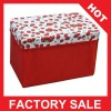 Red rose printed portable collapsible fabric storage stool