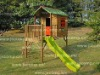 wooden playhouse with 1.8m slide