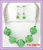 TS-2667E Crystal Ball Jewelry Set With Green AB Resin Pave Ball,Other More Colors Are Available