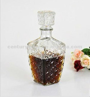 wholesale square clear glass wine decanter with stopper