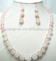 "22/2"" rose quartz jewelry set"