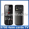 6700 4sim cards 4 standby TV Mobile Phone Unlocked