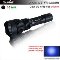 UV flashlight/ UV Torch/UV Light with 5w 365nm Japan high quality UV chip TANK007 PT30