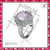 Popular romantic heart shape lavender diamond ring