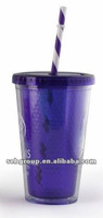 16OZ double wall plastic straw cup with paper insert