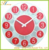 red plastic mirror art wall clock home decor