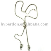 Costume jewelry-long chain necklace with rhinestone