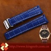 24mm/20mm jam tangan leather croco embossed watchstand blue watch belt