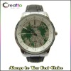 2012 Map Dial Leather Watch