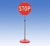 sign stand with round pedestal