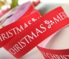 White Christmas Letter Print Grosgrain Ribbon