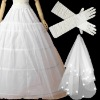 Steel Ring Big Petticoat Satin Gloves Veil Wedding Accessories ZH_80